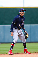 San Antonio Missions shortstop Mauricio Dubon (1) during a Pacific Coast League game against the Iowa Cubs on May 2, 2019 at Principal Park in Des Moines, Iowa. Iowa defeated San Antonio 8-6. (Brad Krause/Four Seam Images)
