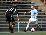 11 September 2005: Ben Hunter (r) takes on Ryan Leeton (l). The University of North Carolina Tarheels defeated the University of South Carolina Gamecocks 2-0 in an NCAA Divison I men's soccer game at Fetzer Field in Chapel Hill, NC.