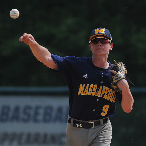 Phil Cottone #9, Massapequa shortstop, throws to first base for an out during Game 1 of the best-of-three Nassau County varsity baseball Class AA final against Oceanside at SUNY Old Westbury on Saturday, May 26, 2018. Massapequa won 6-5.