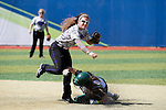 21 MAY 2016:  Shortstop Reagan Tittle (22) of the University of North Alabama tries to turn a double play against Humboldt State University during the Division II Women's Softball Championship held at the Regency Athletic Complex on the Metro State University campus in Denver, CO.  North Alabama defeated Humboldt State 4-1 to win the national title.  Jamie Schwaberow/NCAA Photos