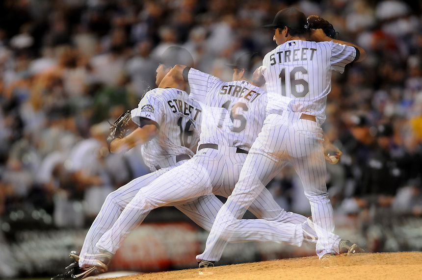 09 MAY 2011: An in-camera multiple exposure image of Colorado Rockies relief pitcher Huston Street (16) during a regular season game between the New York Mets and the Colorado Rockies at Coors Field in Denver, Colorado. The Rockies beat the Mets 2-1. *****For Editorial Use Only*****