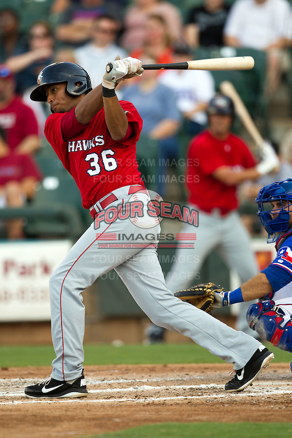 Oklahoma City RedHawks shortstop Angel Sanchez #36 swings during the Pacific Coast League baseball game against the Round Rock Express on June 15, 2012 at the Dell Diamond in Round Rock, Texas. The Express shutout the RedHawks 2-1. (Andrew Woolley/Four Seam Images).