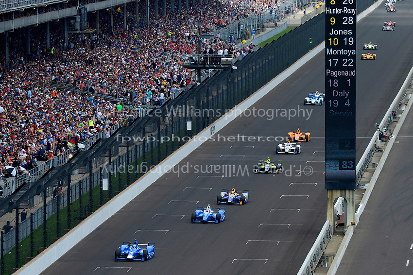 Verizon IndyCar Series<br /> Indianapolis 500 Race<br /> Indianapolis Motor Speedway, Indianapolis, IN USA<br /> Sunday 28 May 2017<br /> Tony Kanaan, Chip Ganassi Racing Teams Honda, Scott Dixon, Chip Ganassi Racing Teams Honda, Alexander Rossi, Andretti Herta Autosport with Curb-Agajanian Honda, Ed Carpenter, Ed Carpenter Racing Chevrolet, JR Hildebrand, Ed Carpenter Racing Chevrolet, Fernando Alonso, McLaren-Honda-Andretti Honda<br /> World Copyright: F. Peirce Williams<br /> LAT Images