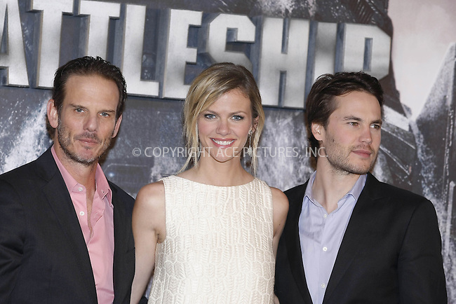 "WWW.ACEPIXS.COM . . . . .  ..... . . . . US SALES ONLY . . . . .....March 30 2012, Madrid....Peter Berg, Brooklyn Decker and Taylor Kitsch at a photocall for ""Battleship"" on March 30 2012 in Madrid ....Please byline: FAMOUS-ACE PICTURES... . . . .  ....Ace Pictures, Inc:  ..Tel: (212) 243-8787..e-mail: info@acepixs.com..web: http://www.acepixs.com"