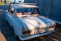 Russia, Sakhalin, Yuzhno-Sakhalinsk. An old Moskvitch car.