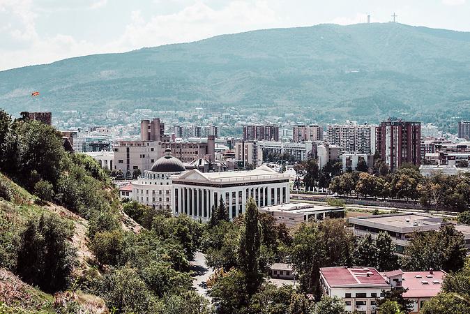 Blick auf die City Hall von Skopje und das B&uuml;ro des B&uuml;rgermeisters, Archiv der Stadt Skopje, den Sitzungssaal des Stadtrates, sowie andere Einrichtungen der Stadtverwaltung . <br /><br />View on the City Hall of Skopje office of the city mayor, the archives of the City of Skopje, the meeting room of the Council, as well as other facilities for the city administration. <br /><br />Mega-Bauprojekt &quot;Skopje 2014&quot;
