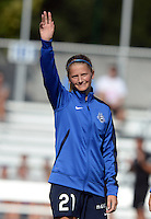 Kansas City, MO - Sunday August 28, 2016: Katie Bowen prior to a regular season National Women's Soccer League (NWSL) match between FC Kansas City and the Boston Breakers at Swope Soccer Village.