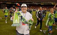 Drew Carey. The Seattle Sounders defeated DC United, 2-1, to win the 2009 Lamr Hunt U.S. Open Cup at RFK Stadium in Washington, DC.