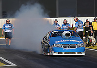 Feb. 14, 2013; Pomona, CA, USA; NHRA pro stock driver Chris McGaha during qualifying for the Winternationals at Auto Club Raceway at Pomona.. Mandatory Credit: Mark J. Rebilas-