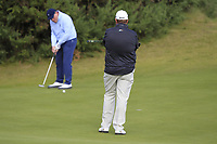 Shane Lowry (IRL) watching Gerry McManus (AM) on the 3rd green during Round 2 of the Alfred Dunhill Links Championship 2019 at Kingbarns Golf CLub, Fife, Scotland. 27/09/2019.<br /> Picture Thos Caffrey / Golffile.ie<br /> <br /> All photo usage must carry mandatory copyright credit (© Golffile | Thos Caffrey)