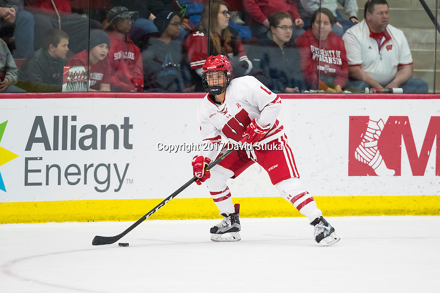 Wisconsin Badgers Presley Norby (6) handles the puck during an NCAA women's hockey game game against the Minnesota Duluth Bulldogs Sunday, February 12, 2017, in Madison, Wis. The Badgers won 8-0. (Photo by David Stluka)