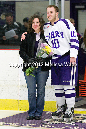 Josh Kamrass (Curry - 10) - The Curry College Colonels defeated the Johnson & Wales University Wildcats 5-4 on Curry's senior night on Saturday, February 18, 2012, at Max Ulin Rink in Milton, Massachusetts.