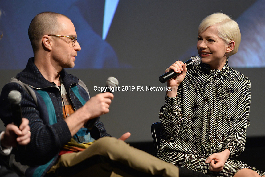 "NEW YORK - APRIL 7: (L-R) Sam Rockwell and Michelle Williams attend the Q&A panned after the screening of FX's ""Fosse Verdon"" presented by FX Networks, Fox 21 Television Studios, and FX Productions at the Museum of Modern Art on April 7, 2019 in New York City. (Photo by Anthony Behar/FX/PictureGroup)"