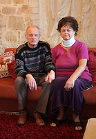 Pictured: John Hatton and wife Heather in their house Wednesday 15 February 2017<br /> Re: John and Heather Hatton, expat couple in Greece who are unable to sell their house in the village of Vamos, Chania, Crete to return to the UK because their neighbour won't pay his taxes.<br /> Heather Hatton needs to return to the UK for urgent medical care.