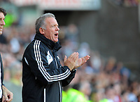 Saturday, 20 October 2012<br /> Pictured: Alan Curtis assistant manager for Swansea.<br /> Re: Barclays Premier League, Swansea City FC v Wigan Athletic at the Liberty Stadium, south Wales.