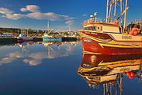 Fishing boats in coastal fishing village off the Atlantic Ocean<br /> La Scie<br /> Newfoundland &amp; Labrador<br /> Canada