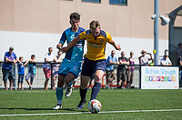 George Wells of Slough Town holds off Trialist of Wycombe Wanderers during the pre season friendly match between Slough Town and Wycombe Wanderers at Arbour Park Stadium, Slough, England on 8 July 2017. Photo by Andy Rowland.