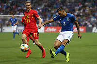 Alexis Saelemaekers of Belgium  and Giuseppe Pezzella of Italy compete for the ball<br /> Reggio Emilia 22-06-2019 Stadio Città del Tricolore <br /> Football UEFA Under 21 Championship Italy 2019<br /> Group Stage - Final Tournament Group A<br /> Belgium - Italy<br /> Photo Cesare Purini / Insidefoto