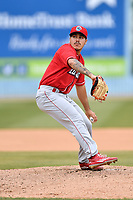 Lakewood BlueClaws starting pitcher JoJo Romero (6) delivers a pitch during a game against the Asheville Tourists at McCormick Field on June 4, 2017 in Asheville, North Carolina. The BlueClaws defeated the Tourists 8-0. (Tony Farlow/Four Seam Images)