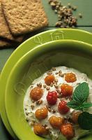 """Europe/Norvège/Iles Lofoten/Svolvaer : Restaurant """"Svinoya Borsen Rorbuer"""" - Porridge aux mûres jaunes de l'artique et crème fouettée"""
