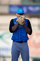 Tampa Tarpons starting pitcher Freicer Perez (37) looks in for the sign during a game against the Lakeland Flying Tigers on April 6, 2018 at Publix Field at Joker Marchant Stadium in Lakeland, Florida.  Lakeland defeated Tampa 6-5.  (Mike Janes/Four Seam Images)