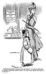 "Little girl (to mother, who has just read notice). ""I suppose, mother it doesn't mention which half of the poor thing we are to look for?"" (a Victorian cartoon shows a street scene and a sign: 10 Shillings Reward. LOST! Half-Persian CAT)"