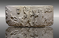 """Photo of Neo-Hittite orthostat from Karkamis, Turkey. Museum of Anatolian Civilisations, Ankara.  The meeting of the """"Storm God"""" on right and a King on the left. 2"""
