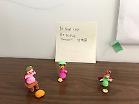 """""""Be Yourself, Be Peaceful"""" Clay art and Message by Noa Kraslen, Grade 1, Yarmouth, ME, USA"""