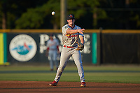 Johnson City Cardinals second baseman Chandler Redmond (25) makes a throw to first base against the Burlington Royals at Burlington Athletic Stadium on September 3, 2019 in Burlington, North Carolina. The Cardinals defeated the Royals 7-2 to even Appalachian League Championship series at one game a piece. (Brian Westerholt/Four Seam Images)