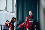 Health Mate-Ladies Team at sign on before the start of  La Fl&egrave;che Wallonne Femmes 2019, running 118.5km from Huy to Huy, Belgium. 24th April 2019<br /> Picture: ASO/Thomas Maheux | Cyclefile<br /> All photos usage must carry mandatory copyright credit (&copy; Cyclefile | ASO/Thomas Maheux)