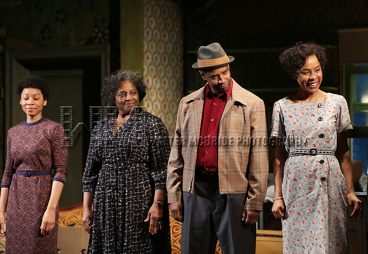 "Anika Noni Rose, LaTanya Richardson, Denzel Washington and Sophie Okonedo during the Broadway Opening Night Curtain Call for  ""A Raisin In The Sun""  at the Barrymore Theatre on April 3, 2014 in New York City."