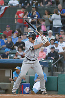 Lynchburg Hillcats designated hitter Daniel Salters (12) at bat during a game against the Myrtle Beach Pelicans at Ticketreturn Field at Pelicans Ballpark on April 14, 2017 in Myrtle Beach, South Carolina. Lynchburg defeated Myrtle Beach 5-2. (Robert Gurganus/Four Seam Images)
