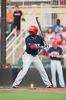 Telmito Agustin (7) of the Hagerstown Suns at bat against the Kannapolis Intimidators at Kannapolis Intimidators Stadium on July 4, 2016 in Kannapolis, North Carolina.  The Intimidators defeated the Suns 8-2.  (Brian Westerholt/Four Seam Images)