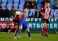 Lincoln City's Jason Shackell battles with Shrewsbury Town's Callum Lang<br /> <br /> Photographer Andrew Vaughan/CameraSport<br /> <br /> The EFL Sky Bet League One - Shrewsbury Town v Lincoln City - Saturday 11th January 2020 - New Meadow - Shrewsbury<br /> <br /> World Copyright © 2020 CameraSport. All rights reserved. 43 Linden Ave. Countesthorpe. Leicester. England. LE8 5PG - Tel: +44 (0) 116 277 4147 - admin@camerasport.com - www.camerasport.com