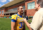 BROOKINGS, SD - AUGUST 11: Zach Zenner #31 of South Dakota State University football talks to Jeff Harkness Monday afternoon at the Jacks Media Day in Brookings. (Photo by Dave Eggen/Inertia)