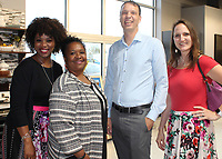 NWA Democrat-Gazette/CARIN SCHOPPMEYER Ronetta Francis (from left), Celia Thompkins and Keln and Nicolette Taylor attend Top Chef NWA.
