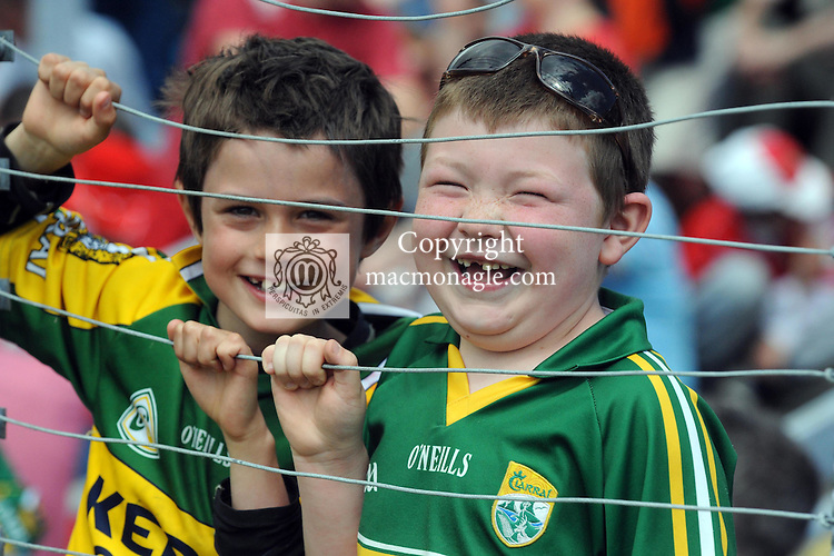 5-7-2015: Kerry fans Gaspar Landron-O'Connor and Cian O'Mahony, Kenmare at the Kerry V Cork Munster football final in Killarney on Sunday.<br /> Picture by Don MacMonagle