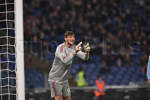 01.11.2015. Rome, Italy. Serie A Football. Lazio versus AC Milan. Gianluigi Donnarumma gives instructions to Milan defenders for a direct free kick