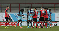 Tempers flare for both team as Michael Harriman of Wycombe Wanderers is booked for a foul on Paul Mullin of Morecambe  during the Sky Bet League 2 match between Morecambe and Wycombe Wanderers at the Globe Arena, Morecambe, England on 29 April 2017. Photo by Stephen Gaunt / PRiME Media Images.