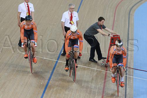 02.03.2016. Lee valley Velo Centre. London England. UCI Track Cycling World Championships Men's team sprint.  Team Holland VAN T HOENDERDAAL Nils - HOOGLAND Jeffrey - BUCHLI Matthijs