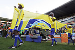 13 JUN 2010:  The FIFA flag enters the field to introduce the teams.  The Serbia National Team played the Ghana National Team at Loftus Versfeld Stadium in Tshwane/Pretoria, South Africa in a 2010 FIFA World Cup Group D match.