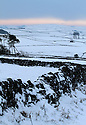 15/01/13..Dawn breaks over a snowy landscape overlooking the Peak District near Hartington in Derbyshire...All Rights Reserved - F Stop Press.  www.fstoppress.com. Tel: +44 (0)1335 300098.