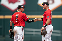 Texas Tech Red Raiders second baseman Brian Klein (5) celebrates with teammate Josh Jung (16) after Game 5 of the NCAA College World Series against the Arkansas Razorbacks on June 17, 2019 at TD Ameritrade Park in Omaha, Nebraska. Texas Tech defeated Arkansas 5-4. (Andrew Woolley/Four Seam Images)