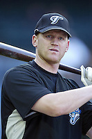 Lyle Overbay of the Toronto Blue Jays during batting practice before a game from the 2007 season at Angel Stadium in Anaheim, California. (Larry Goren/Four Seam Images)