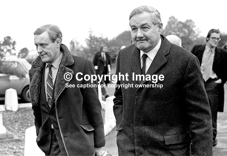 UK Shadow Home Secretary, James Callaghan, along with fellow Labour Party MP, Tony Wedgwood-Benn, during a one-day visit to Belfast, N Ireland, to meet opposition MPs in the N Ireland Parliament at Stormont. 197111120449.<br />