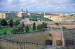 rampart and city view of Valletta island of Malta Europe