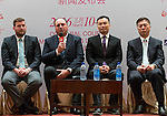 (left-right) Michael Wood, Iain Roberts, T.K. Pen, Zhang Xiao Ning attend the press conference at the beginning of World Ladies Championship 2016 on 09 March 2016 at Mission Hills Olazabal Golf Course in Dongguan, China. Photo by Victor Fraile / Power Sport Images