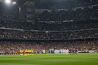 Real Madrid and Borussia Dortmund teams during a minute of silence for Chapecoense accident