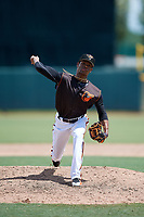 GCL Orioles pitcher Yeancarlos Lleras (26) during a Gulf Coast League game against the GCL Braves on August 5, 2019 at Ed Smith Stadium in Sarasota, Florida.  GCL Orioles defeated the GCL Braves 4-3 in the second game of a doubleheader.  (Mike Janes/Four Seam Images)