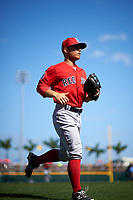 Boston Red Sox second baseman Sean Coyle (80) jogs to the dugout during a Spring Training game against the Pittsburgh Pirates on March 9, 2016 at McKechnie Field in Bradenton, Florida.  Boston defeated Pittsburgh 6-2.  (Mike Janes/Four Seam Images)